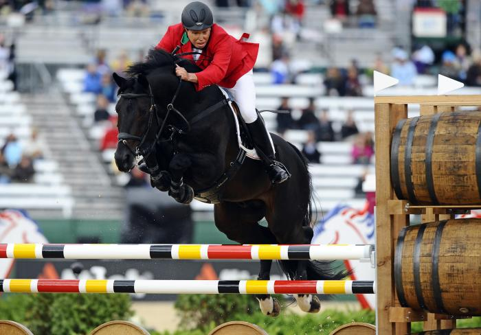 epa02374064 Zorro ridden by Federico Fernandez from Mexico clears a fence while competing in the Speed Competition of the Jumping at the World Equestrian Games in Lexington, Kentucky, USA, 04 October 2010. The World Equestrian Games are being held outside